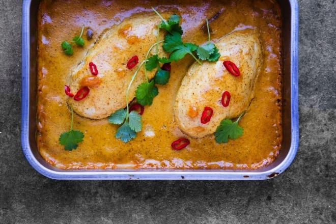 Kylling med mango- og karrisaus Oppskrift
