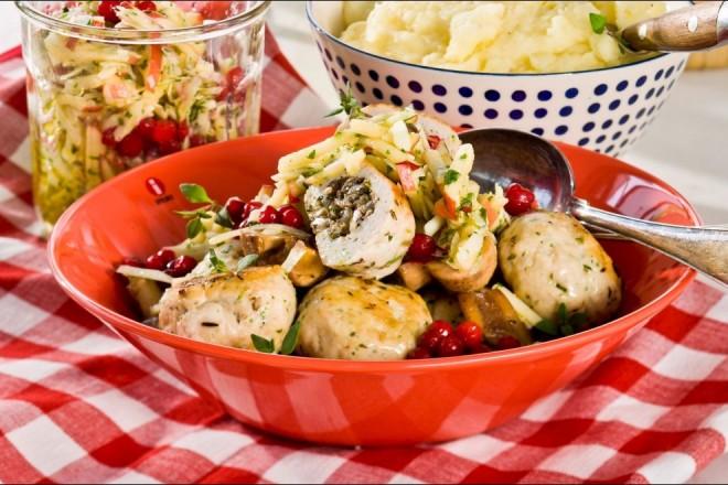 Kyllingkjøttboller med urter og sopp Oppskrift