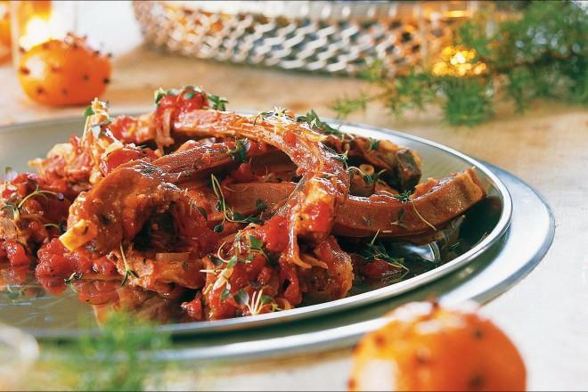 Pinnekjøtt i tomatsaus Oppskrift