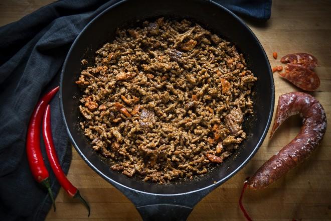 Kjøttdeig til taco med chorizo Oppskrift