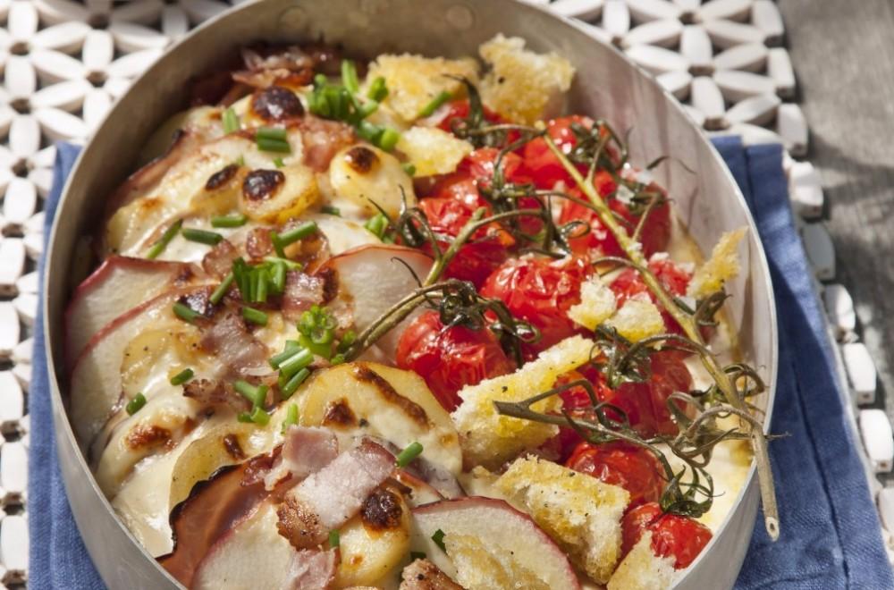 Skinkeform med ovnsbakte tomater Oppskrift