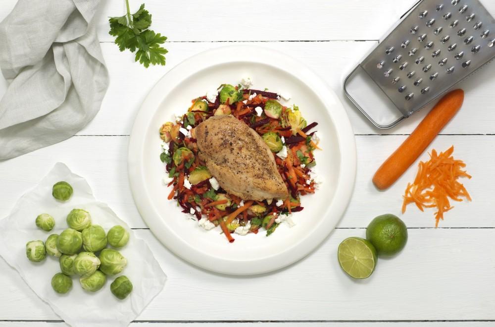 Kyllingfilet med rotgrønnsaker og fetaost Oppskrift