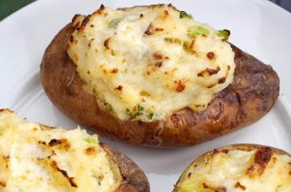 Dobbelbakte poteter Oppskrift