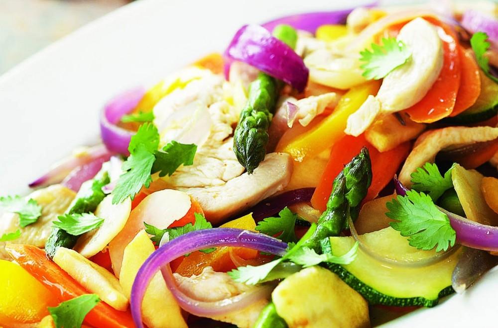 Grillet kylling med wokgrønnsaker i sursøt saus Oppskrift