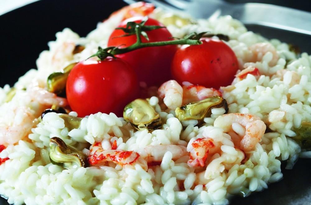 Risotto med skalldyr og tomater Oppskrift
