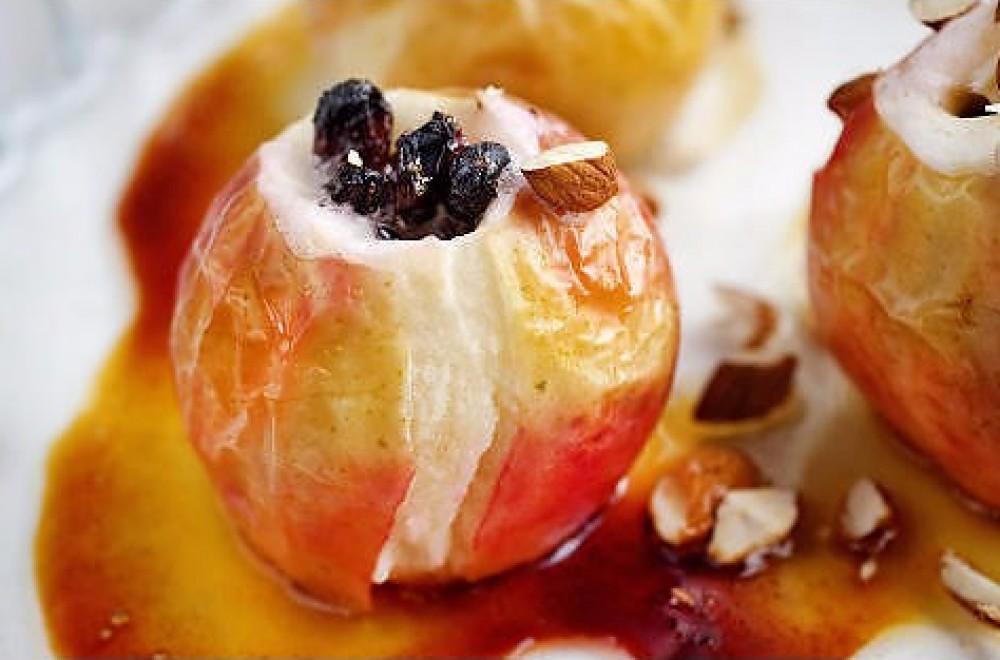 Bakte epler med mandler Oppskrift