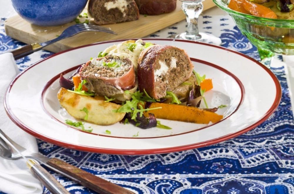 Innbakt kjøttbrød med fetaost Oppskrift
